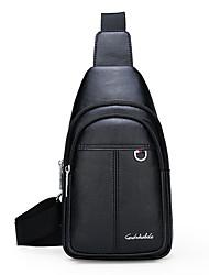 cheap -Men's Zipper PU Sling Shoulder Bag Solid Color Black / Brown