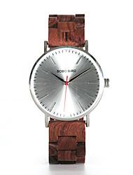 cheap -Men's Dress Watch Japanese Japanese Quartz Stylish Wood Black / Red 30 m Casual Watch Wooden Analog Fashion Wood - Black Orange red Two Years Battery Life