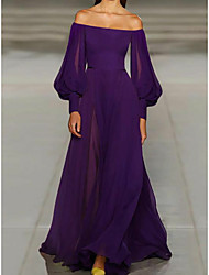 cheap -A-Line Off Shoulder Sweep / Brush Train Chiffon Vintage / Purple Formal Evening / Wedding Guest Dress with Pleats 2020