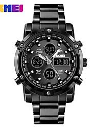 Недорогие -Skmei 1389 двойной дисплей многофункциональный большой стол три раза стальной ремень водонепроницаемый мужские электронные часы