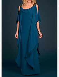 cheap -Sheath / Column Scoop Neck Floor Length Chiffon Half Sleeve Plus Size / Elegant Mother of the Bride Dress with Appliques 2020