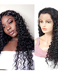 cheap -Remy Human Hair Full Lace Lace Front Wig style Brazilian Hair Curly Black Wig 130% 150% 180% Density Party Women Natural Comfortable curling Women's Medium Length Human Hair Lace Wig Factory OEM
