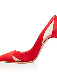 cheap -Women's Heels Stiletto Heel Pointed Toe Suede / Mesh Sweet / British Fall / Spring & Summer Black / Red / Party & Evening