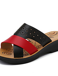 cheap -Women's Sandals Wedge Heel Round Toe Faux Leather Casual / Minimalism Spring & Summer Black / Orange / Blue / Color Block