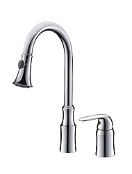 cheap -Kitchen faucet - Single Handle Two Holes Chrome Pull-out / ­Pull-down Widespread Contemporary Kitchen Taps