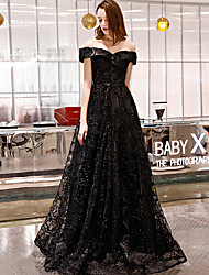 cheap -A-Line Off Shoulder Floor Length Lace Sparkle & Shine / Elegant Formal Evening / Black Tie Gala Dress with 2020