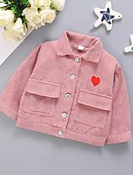 Недорогие -малыш Девочки Классический Однотонный С принтом Короткая Куртка / пальто Лиловый