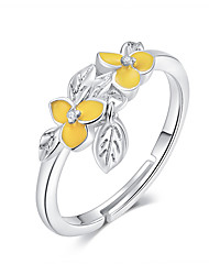 cheap -Flower and Leaf Adjustable Finger Rings for Women 925 Sterling Silver Enamel Floral Design Jewelry