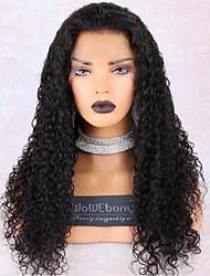 Недорогие -wowebony 360 парик шнурка бразильский реми человеческие волосы густота вьющихся волос 180% предварительно выщипанная натуральная линия волос с babyhair