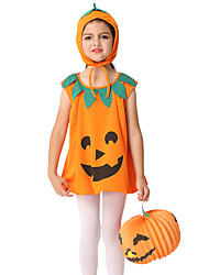 cheap -Pumpkin Dress Outfits Halloween Props Costume Kid's Girls' Halloween Halloween Festival / Holiday polyester fibre Yellow Carnival Costumes