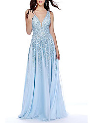 cheap -A-Line Open Back Prom Dress Plunging Neck Sleeveless Sweep / Brush Train Chiffon with Sequin 2021