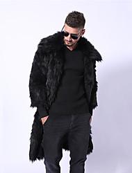 abordables -Homme / N / C Sortie Hiver Longue Manteau en Fourrure, Couleur Pleine Col rabattu Manches Longues Fausse Fourrure Noir / Jaune