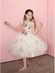 cheap -Princess Knee Length Flower Girl Dress - Lace / Organza / Taffeta Cap Sleeve Jewel Neck with Embroidery by LAN TING Express