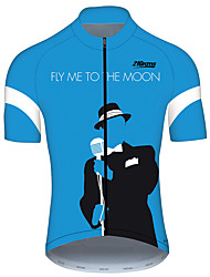cheap -21Grams Fly me to the Moon Men's Short Sleeve Cycling Jersey - Sky Blue+White Bike Jersey Top Breathable Quick Dry Reflective Strips Sports 100% Polyester Mountain Bike MTB Road Bike Cycling Clothing