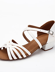 cheap -Girls' Latin Shoes Satin Cross Strap Heel Thick Heel Dance Shoes Dark Brown / White / Performance