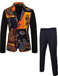 cheap -Men's Plus Size Suits, Geometric / Color Block Notch Lapel Linen / Rayon / Polyester Black