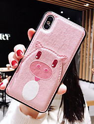 cheap -Case For Apple iPhone XS / iPhone XR / iPhone XS Max Card Holder / Ultra-thin / Pattern Back Cover Animal / Cartoon PU Leather / TPU