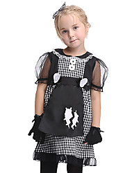 cheap -Maid Costume Maid Suits Kid's Girls' Halloween Halloween Festival / Holiday Spandex Polyester / Polyamide Black Carnival Costumes