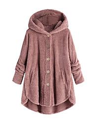 Недорогие -Жен. Повседневные Весна & осень Большие размеры Длинная Пальто, Однотонный Капюшон Длинный рукав Полиэстер Розовый / Винный / Светло-серый