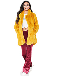 cheap -Women's Going out / Work Winter Long Faux Fur Coat, Solid Colored Turndown Long Sleeve Faux Fur Black / White / Dusty Rose