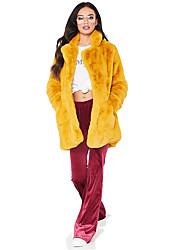 abordables -Femme Sortie / Travail Hiver Longue Manteau de fausse fourrure, Couleur Pleine Col rabattu Manches Longues Fausse Fourrure Noir / Blanche / Rose Poudré