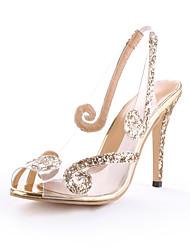 cheap -Women's Heels Stiletto Heel Peep Toe PVC(Polyvinyl chloride) Spring & Summer Gold / Silver / Party & Evening