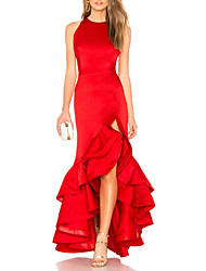 cheap -Mermaid / Trumpet Jewel Neck Asymmetrical Satin Sexy / Red Formal Evening / Wedding Guest Dress with Tier / Ruffles 2020