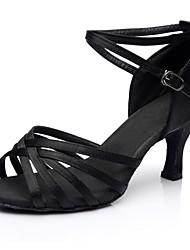 cheap -Women's Dance Shoes Satin Latin Shoes Heel Slim High Heel Customizable Black / Performance