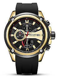 cheap -MEGIR Men's Sport Watch Quartz Sporty Stylish Outdoor Water Resistant / Waterproof Silicone Black Analog - White Black Gold Two Years Battery Life / Calendar / date / day / Chronograph / Large Dial