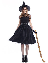 cheap -Witch Cosplay Costume Adults' Women's Halloween Halloween Halloween Masquerade Festival / Holiday Satin / Tulle Polyster Black Women's Carnival Costumes Solid Colored / Dress / Gloves / Belt / Hat