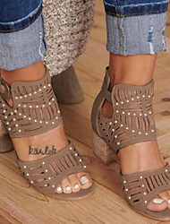 cheap -Women's Sandals Cowboy Western Boots Block Heel Round Toe Block Heel Sandals Casual Vintage Daily PU Beading Solid Colored Black Blue Khaki