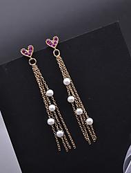 cheap -Women's Freshwater Pearl Hoop Earrings Tassel Heart Stylish Dangling Romantic Korean Sweet Pearl Gold Plated Earrings Jewelry Gold For Gift Daily Festival 1 Pair