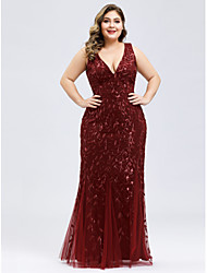 cheap -Mermaid / Trumpet Plus Size Red Engagement Prom Dress V Neck Sleeveless Floor Length Lace Tulle with Appliques 2020