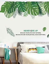 Недорогие -зеленые большие листовые наклейки на стену - стикеры на стенах животных животные / комната для изучения ландшафта / офис / столовая / кухня