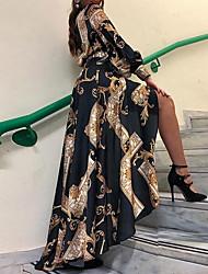 cheap -Women's Shirt Dress - Geometric Black S M L XL
