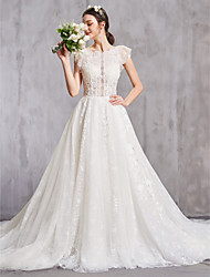 cheap -A-Line Jewel Neck Cathedral Train Lace Cap Sleeve Sexy Wedding Dresses with Lace / Beading 2020