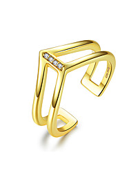 cheap -V shape Double Layer Finger Ring for Women 925 Sterling Silver Gold Color Fashion Korean Style Jewelry