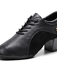 cheap -Women's Jazz Shoes Oxford Sneaker Thick Heel Nappa Leather Black / Performance / Practice