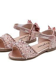 cheap -Girls' Sandals Flower Girl Shoes PU Little Kids(4-7ys) Daily Crystal Black Pink Silver Summer