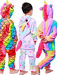 cheap -Kid's Kigurumi Pajamas Unicorn Flying Horse Pony Onesie Pajamas Flannel Fabric Black / White+Pink / White Cosplay For Boys and Girls Animal Sleepwear Cartoon Festival / Holiday Costumes