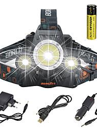 Недорогие -Налобные фонари огни безопасности Фары для велосипеда 13000 lm Светодиодная лампа LED излучатели 1 Режим освещения с батарейками и зарядными устройствами Угловой фонарь Подсветка для авто Очень легкие