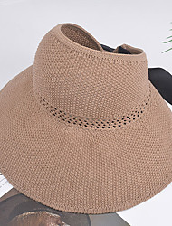 cheap -Women's Basic Cotton Linen Straw Hat Sun Hat-Solid Colored Summer Black Blushing Pink Blue