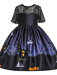 cheap -Kids Toddler Girls' Punk & Gothic Animal Cartoon Halloween Lace Drawstring Short Sleeve Knee-length Dress Black