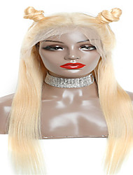 cheap -Remy Human Hair Lace Front Wig Middle Part style Brazilian Hair Straight Blonde Wig 130% Density Women's Medium Length Human Hair Lace Wig beikashang