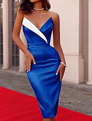 cheap -Women's Sheath Dress - Color Block Black White Blue S M L XL
