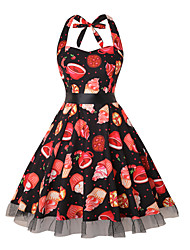 cheap -Vintage Inspired Dress Women's Spandex Costume Brown black Vintage Cosplay Knee Length