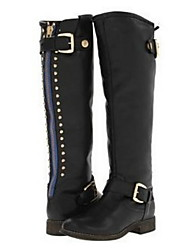 cheap -Women's Boots Knee High Boots Flat Heel Round Toe Synthetics Knee High Boots Fall & Winter Black / Brown / Gray