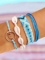 cheap -4pcs Women's Wrap Bracelet Vintage Bracelet Earrings / Bracelet Layered Petal Wave Shell Classic Vintage Bohemian Ethnic Fashion Cord Bracelet Jewelry Blue For Daily School Street Holiday Festival