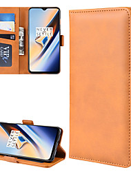 cheap -Case For OnePlus Wallet / Card Holder / Flip Full Body Cases Solid Colored PU Leather