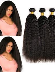 cheap -3 Bundles Indian Hair Yaki Straight Remy Human Hair 100% Remy Hair Weave Bundles Natural Color Hair Weaves / Hair Bulk Extension Bundle Hair 8-28 inch Natural Human Hair Weaves Best Quality Cool